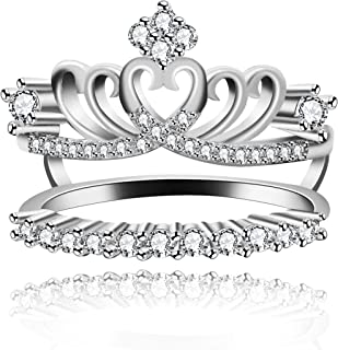 Uloveido Women's Platinum Plated Cubic Zironica Princess Crown Wedding Engagement Rings Guard Wraps and Enhancers Y480