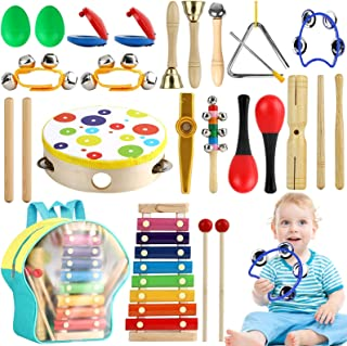 Tobeape Musical Percussion Instrument Set, 25 Pcs Toddler Musical Education Instruments Toys Wooden Percussion Toys and Rh...