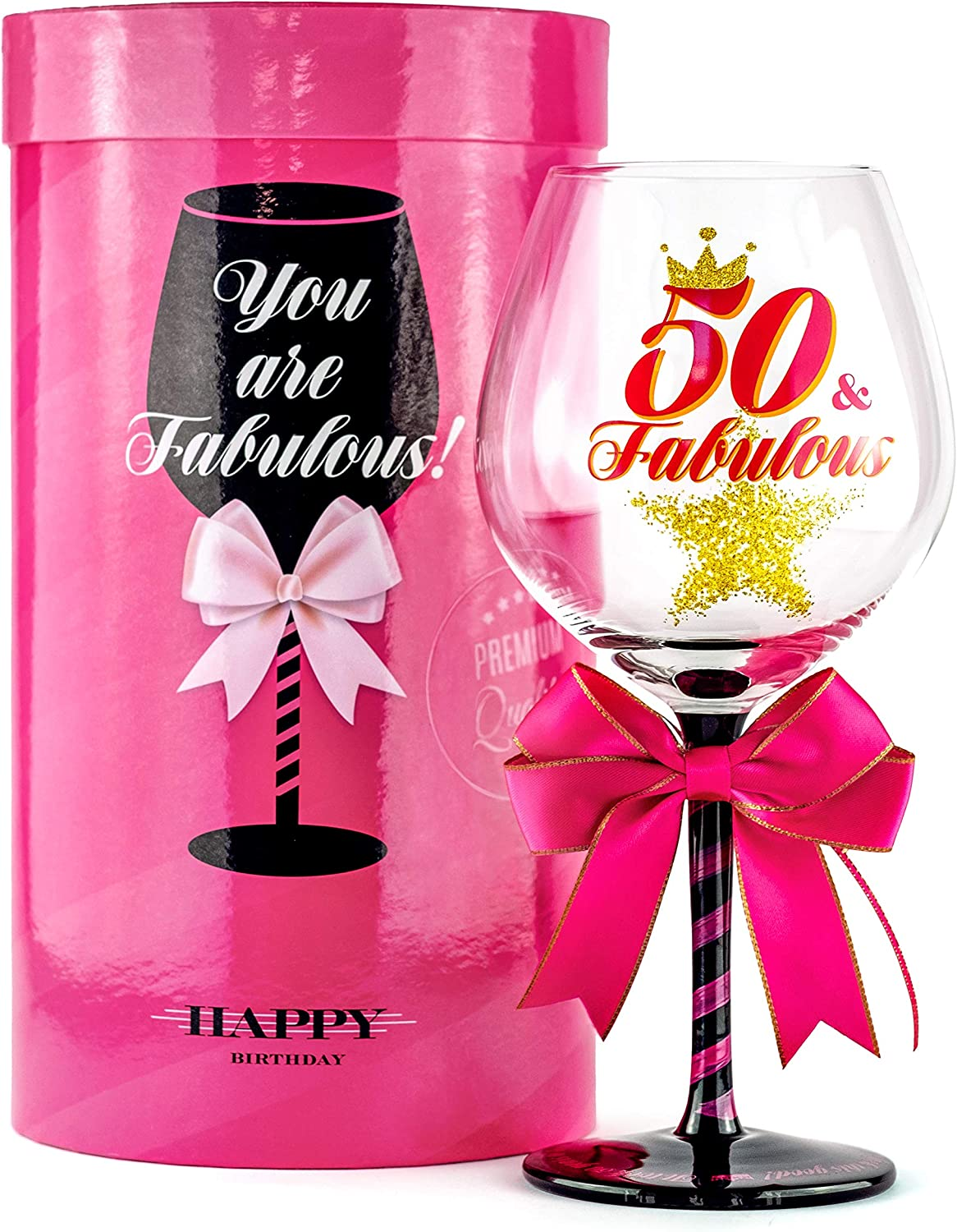 low-pricing 50 and Fabulous Shipping included Birthday Wine Glass Gift for Fun Women Wom