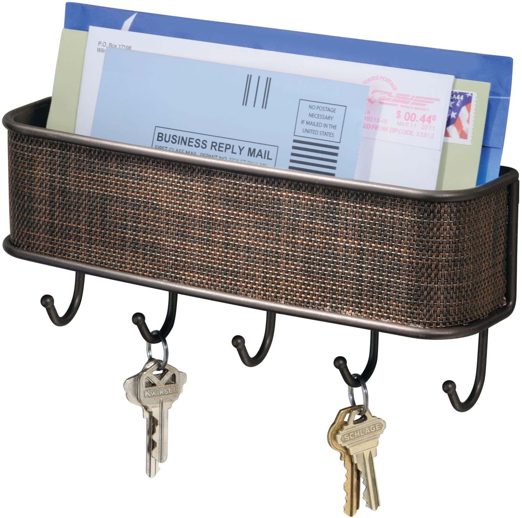 """iDesign Twillo Mail and Key Holder, Decorative Wall Mounted Key Rack Organizer Pocket and Letter Sorter Holder for Entryway, Kitchen, Mudroom, Home Office Organization, 10.5"""" x 2.5"""" x 4.5"""", Bronze"""