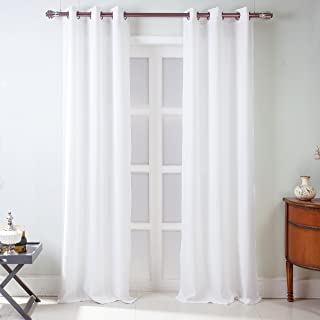 RT Designers Collection Madrid Textured Grommet Curtain Panel Pair (Set of 2), (2X) 38 x 84 in. (Total Width: 76 in.), White