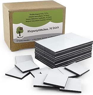 OfficeTree® - 70 láminas de imán, 20 x 20 mm, autoadhesivas para una imantación fiable de carteles, fotos o papel, fuerza de adhesión extra fuerte en pizarras blancas imantadas, color negro