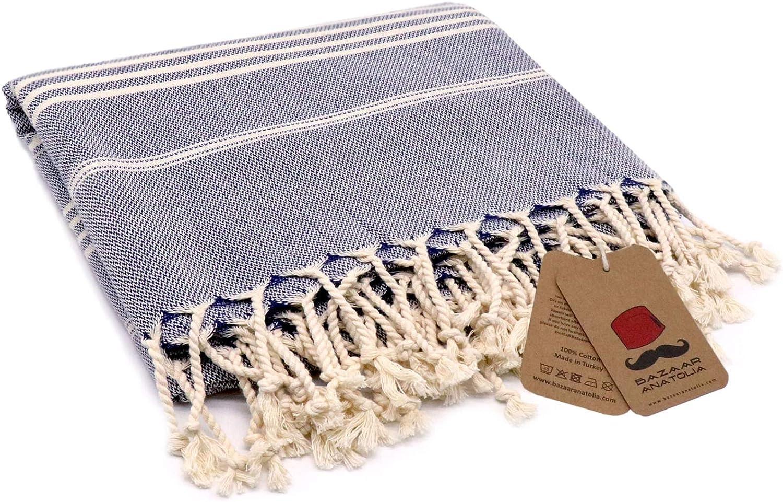 Bazaar Anatolia Slim Line Turkish Towel 100% Cotton Peshtemal Beach Towel