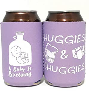 Baby Shower Can Cooler for Dadchelor Party, Diaper Party, BabyQ, Party Favor, Huggies and Chuggies, A Baby is Brewing, Beer coolers/coolie (Lavendar, 6)