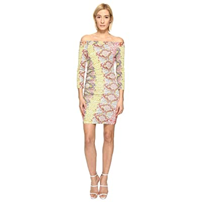 Just Cavalli Iridescent Python Print Off the Shoulder Dress (Apricot Variant) Women