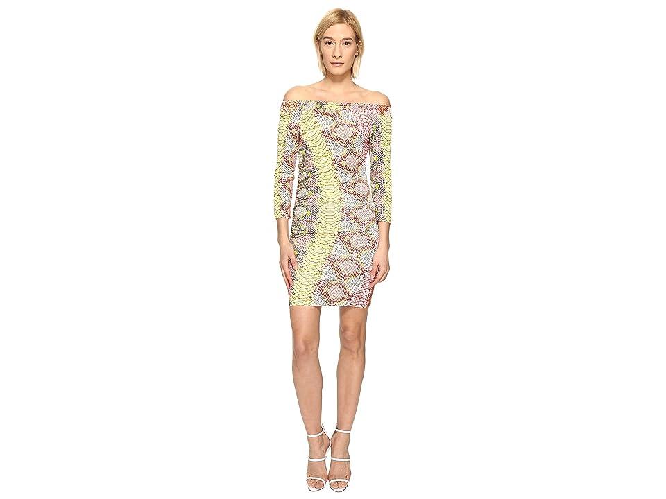 Just Cavalli Iridescent Python Print Off the Shoulder Dress (Apricot Variant) Women