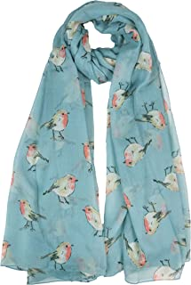 Claudia & Jason® Watercolour Robin Bird Printed Large Fashion Scarf Wraps Shawls Scarves For Ladies Women Oversized