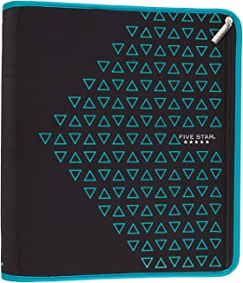 Five Star Zipper Binder, 2 Inch 3 Ring Binder, Xpanz, Teal Triangles (29040HZ9)
