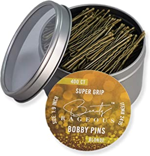 Super Grip Blonde Bobby Pins - 400 Ct - Handy Reusable Tin