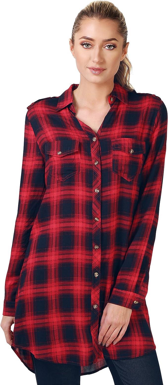 KRISP Camisa Larga Cuadros Roja Negra[Rojo,M]: Amazon.es: Ropa