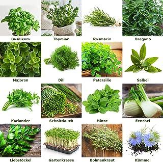 """Mezcla/Set""""Jardín de hierbas"""" 16 x 50 semillas de las hierbas más populares de Portugal / 100% natural (Sin químicos/ayuda..."""