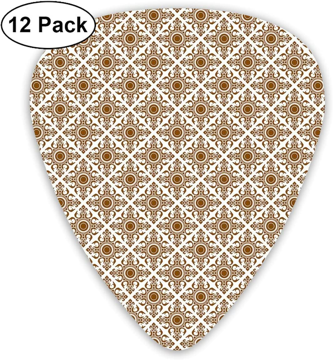 Guitar Picks12pcs Plectrum (0.46mm-0.96mm), Winter Landscape With Show Covered Country House Hut In Trees Rural Picture,For Your Guitar or Ukulele