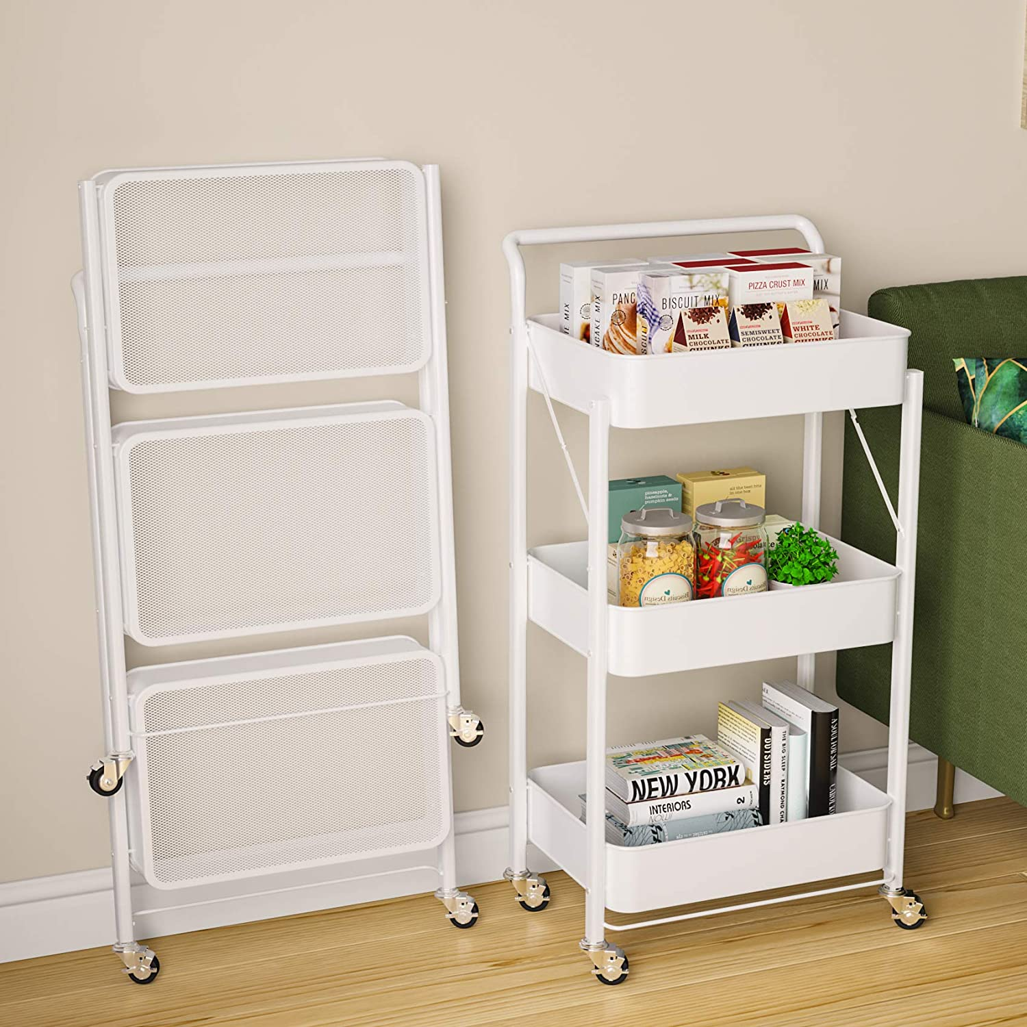 3 Arlington Mall Tier 67% OFF of fixed price Rolling Foldable Utility Cart Whee Roller and with Handle
