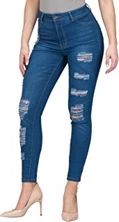 L.B FASHION Mid-Rise Waisted Women Jeans Plus Size Ripped Stretch Skinny Colored Pants Black Blue Olive Khaki Grey red