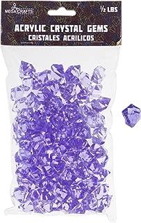 Mega Crafts 1/2 lb Acrylic Ice Rock Cubes Lavender, Plastic Glass Gems for Arts & Crafts, Vase Fillers & Table Scatters, Decoration Stones, Shiny Pebbles