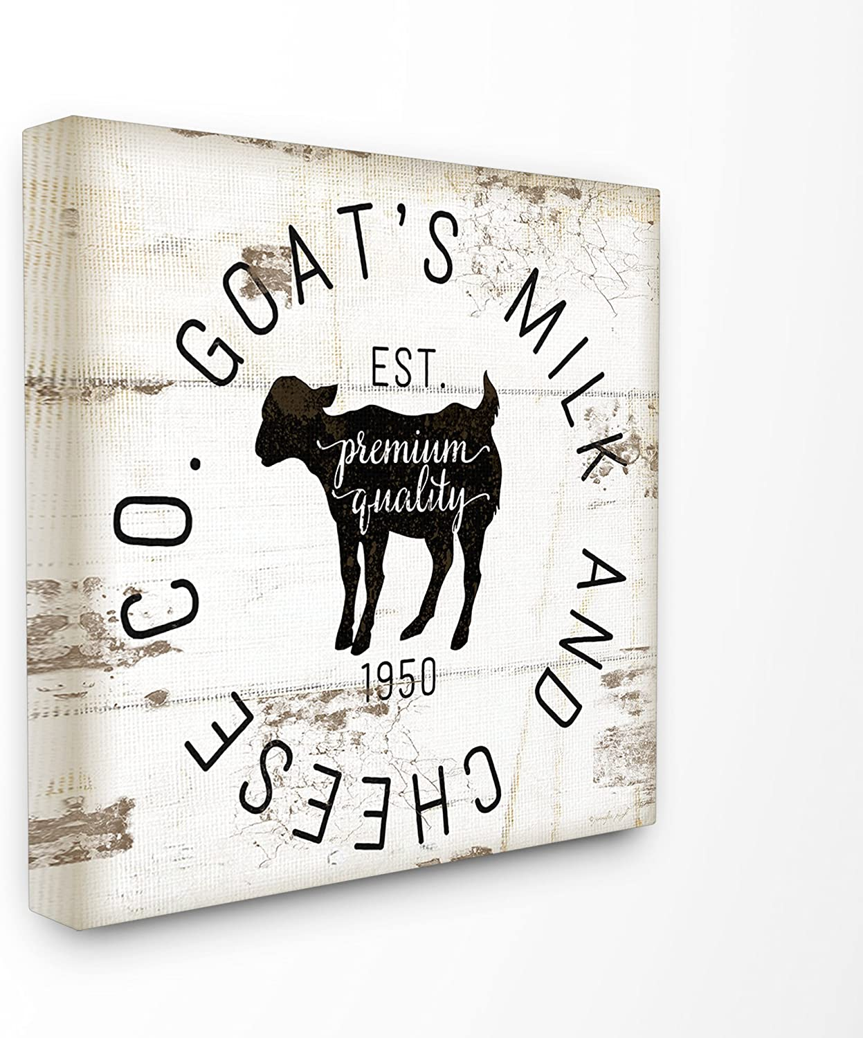 Stupell Industries Home Décor Collection Goat Milk and Cheese Co Vintage Sign Stretched Canvas Wall Art(kwp-1068_cn_17x17)