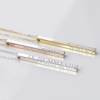 Personalized Vertical Bar Necklace Coordinate Jewelry Mothers Day Gift Roman Numeral Graduation Gift Engraved 3D Necklaces for Women Initial Necklace - 4SBN