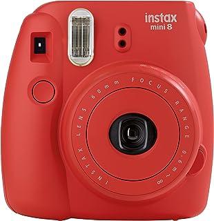 Fujifilm Instax Mini 8 - Cámara analógica instantánea (flash velocidad de obturación fija de 1/60 s) color rojo