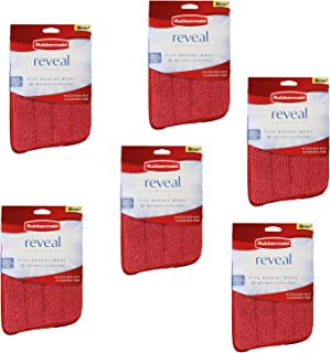 Rubbermaid - Reveal Mop Microfiber Cleaning Pad, 15-Inch, Red (6-Pack)