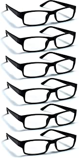 6 Pack Reading Glasses by BOOST EYEWEAR, Traditional Black Frames, for Men and Women, with Comfort Spring Loaded Hinges, Black, 6 Pairs (+2.50)