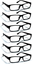 6 Pack Reading Glasses by BOOST EYEWEAR, Traditional Black Frames, for Men and Women, with Comfort Spring Loaded Hinges, Black, 6 Pairs (+1.75)