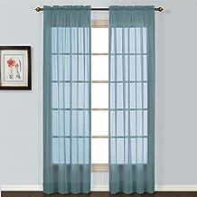 لوحة ستارة نافذة نصف شفافة من United Curtain Batiste مقاس 54 في 84 بوصة، أزرق