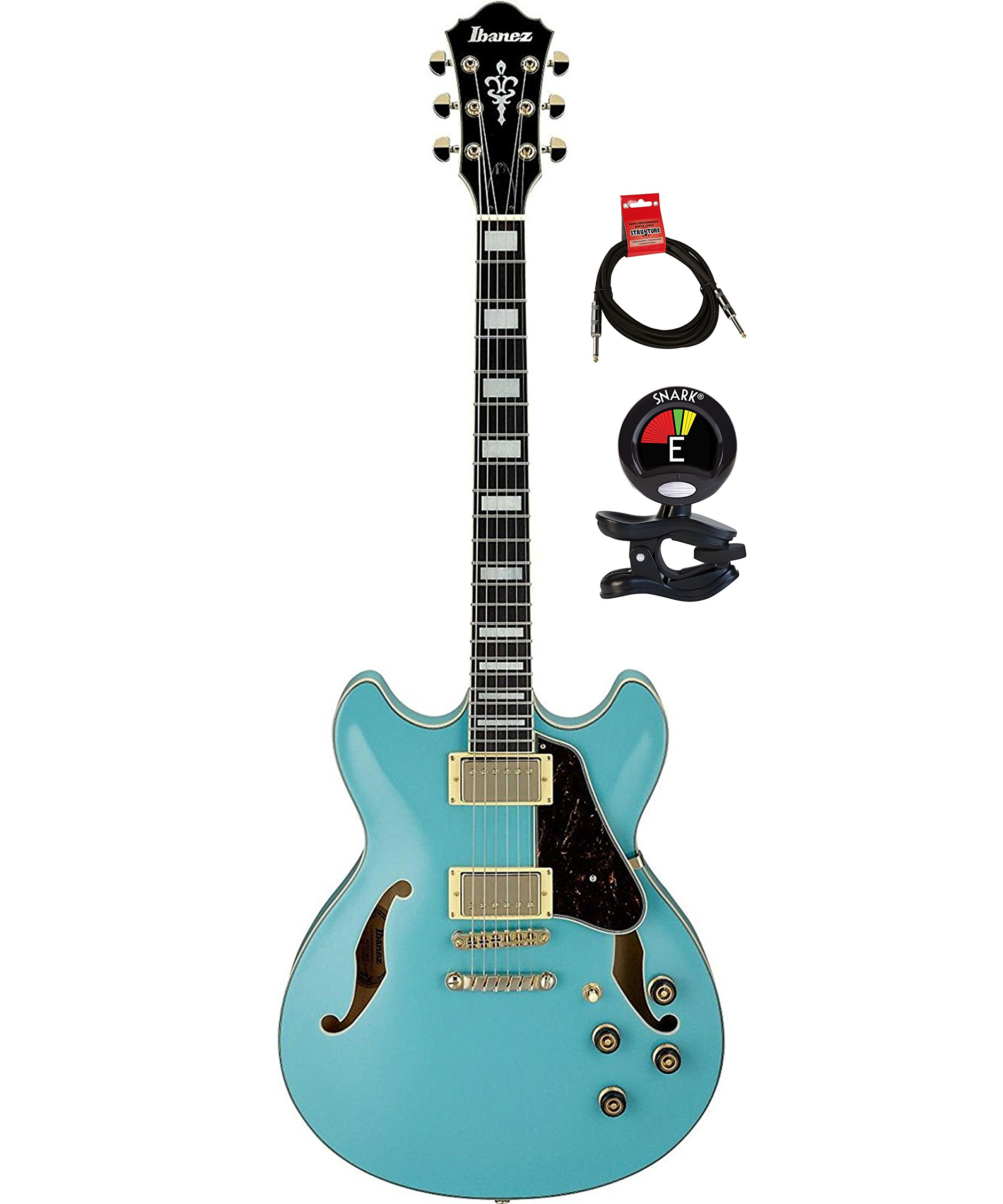 Cheap Ibanez AS73GMTB Artcore Semi Hollow Body 6 Strings Electric Guitar Package with Guitar Tuner and Instrument Cable - Mint Blue Black Friday & Cyber Monday 2019