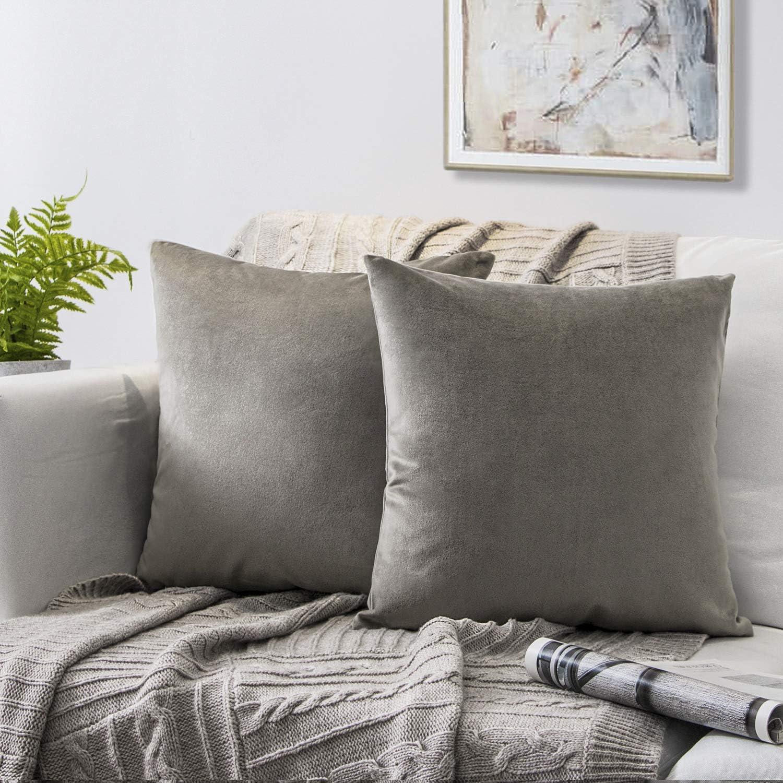 Phantoscope Pack of 2 Decorative Soft Velvet Series Light Coffee Throw Pillow Case Cushion Cover 22  x 22  55 x 55 cm