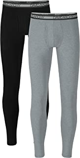 Men's 2 Pack Winter Warm Stretchy Cotton Fleece Lined Base Layer Pants Thermal Bottoms Long Johns with Fly