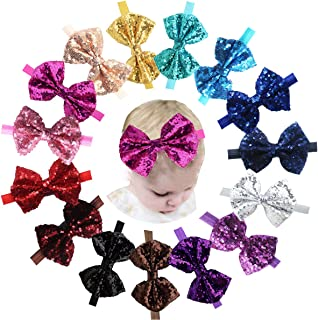 15pcs Baby Girl Headbands Sparkly Glitter Sequins 4