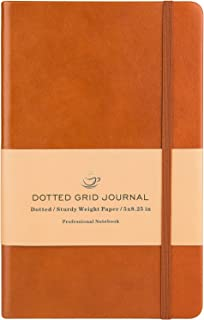 Dotted Grid Notebook/Journal - Dot Grid Hard Cover Notebook, Premium Thick Paper with Fine Inner Pocket, Brown Smooth Faux Leather, 5''×8.25''