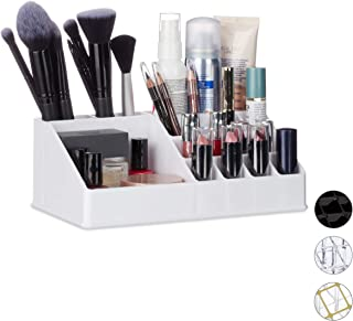 Relaxdays Cosmetic Organiser, Makeup Kit for Lipstick, Nail Polish, Acrylic Jewellery Stand, White