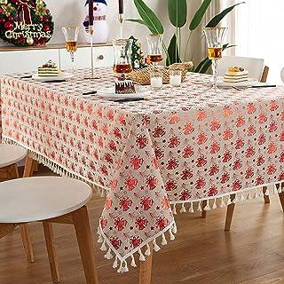 YUANYOU Tovaglia di Natale rettangolare per la casa con nappe rosse in cotone e lino a caldo stampaggio tovaglia vacanza p...