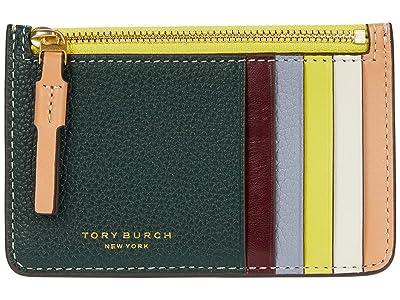 Tory Burch Perry Color-Block Top Zip Card Case (Norwood/Cloud Blue) Credit card Wallet