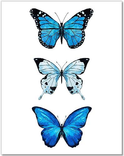 Butterfly Wall Art - Blue Butterflies Room Decor - Watercolor Art Print - 11x14 – Unframed Poster (Blue)