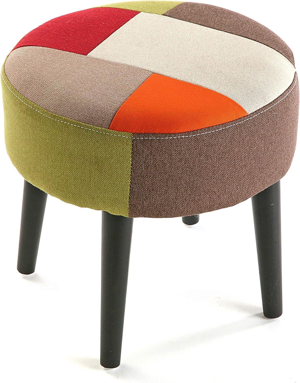 Versa Hocker, niedrig, skandinavisches Patchwork-Design