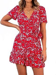 لباس تابستانی چاپ Relipop تابستان آستین کوتاه V V گردن لباس کوتاه و گاه به گاه