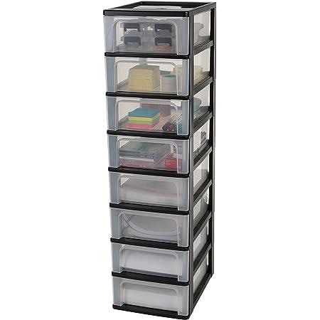 Iris Ohyama 135660 Tour de Rangement 8 tiroirs Organizer Chest, Plastique, Noir, 8 x 7 L