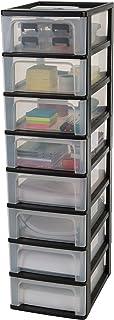 Iris Ohyama, tour de rangement 8 tiroirs - Organizer Chest - OCH-2008 plastique, noir/transparent/transparent, 56 L, 26 x ...