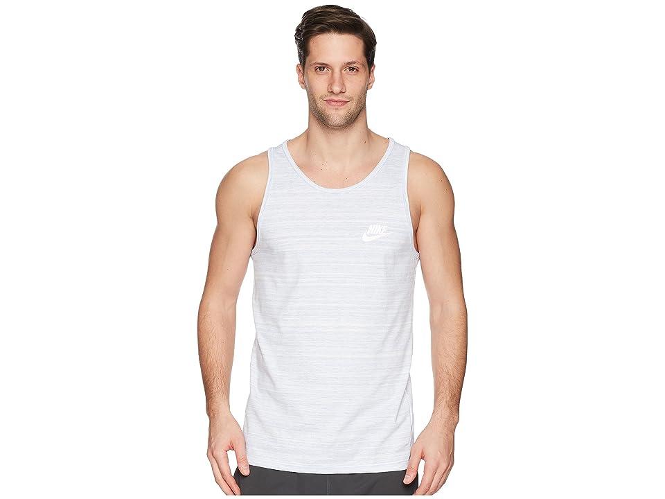 Nike Sportswear Advance 15 Tank (White/Purple Slate/Heather/White) Men