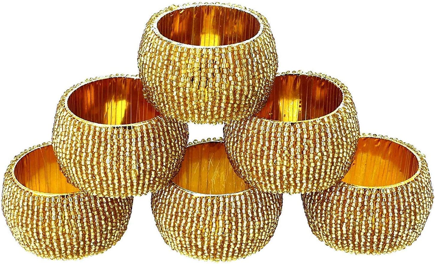 Set of 6 Indian Accent Table Decoration Beaded Napkin Rings Holder Red