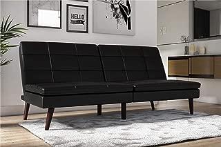 DHP Westbury Linen Pillowtop Futon, Black Faux Leather