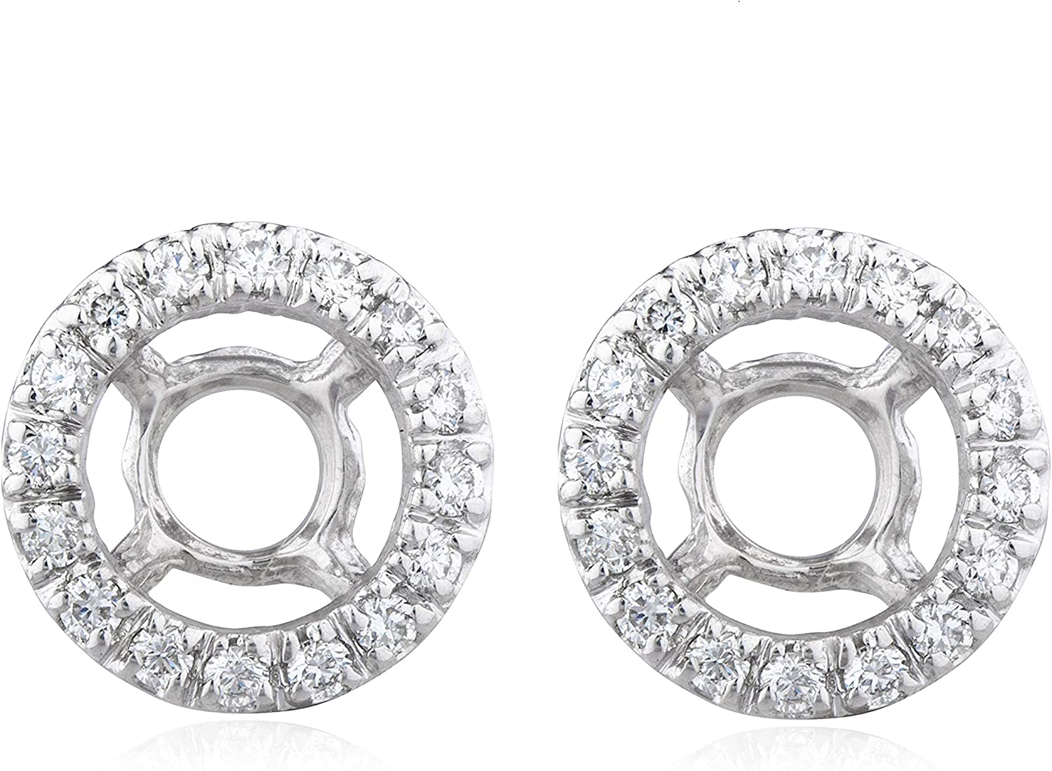 14K White Gold .50Ct Diamond Earring Jackets, Suitable for 1 Carat Studs, H-I, SI1-SI2