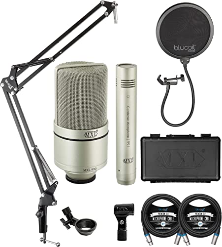 lowest MXL 990 991 new arrival discount Recording Condenser Microphone Package for Vocals, Guitars, Drum Overheads, and Acoustic Instruments Bundle with Blucoil 2-Pack of 10-FT Balanced XLR Cables, and Boom Arm Plus Pop Filter online