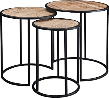 Nesting Coffee Table for Living Room, Stacking End Tables Nesting Round Side Table Set of 3 Wood and Metal Stacking Tables