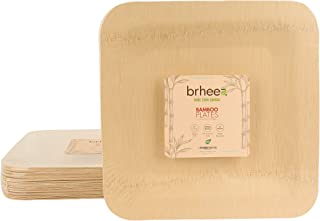 "Brheez 10"" Bamboo Veneer Disposable Eco-Friendly Square Plates - Elegant, Compostable and Biodegradable - Made from 100% Natural Bamboo - (Pack of 10)"