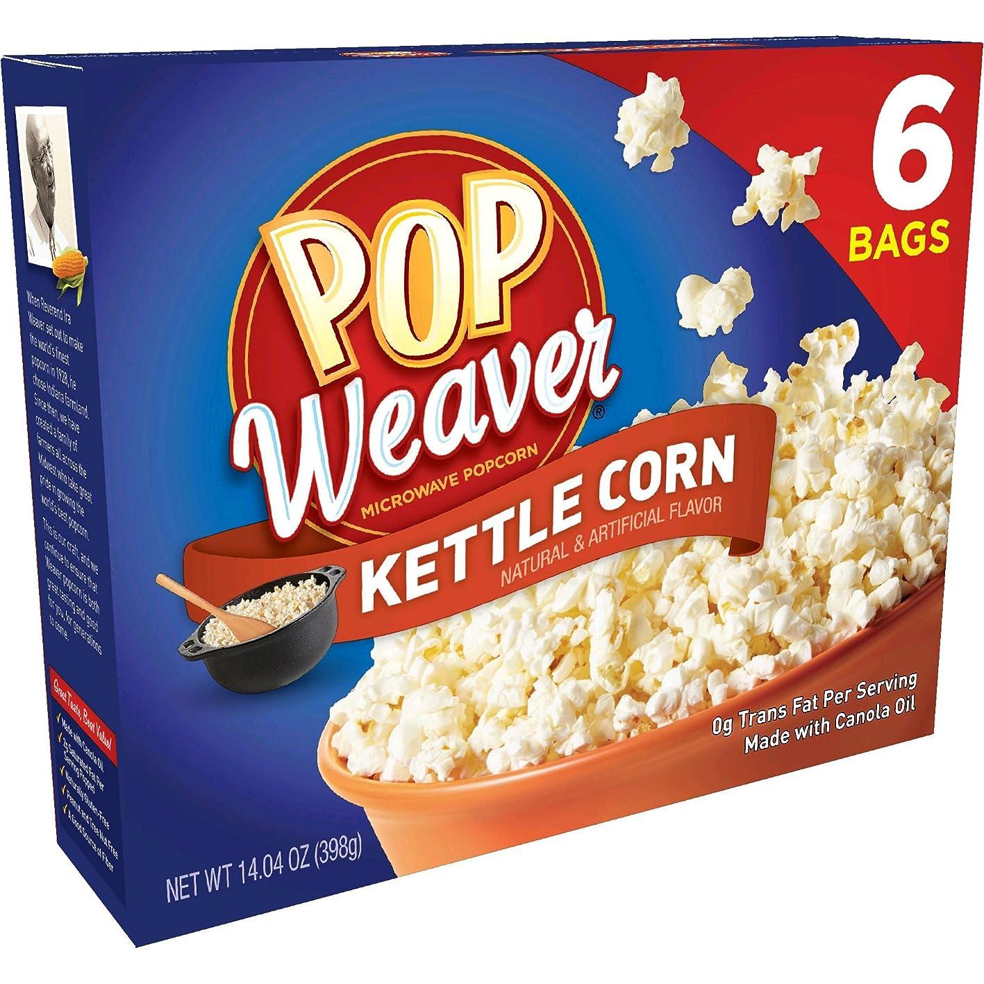 Pop Weaver Microwave Popcorn Kettle Corn 6 Bags iwxnacrhlfd310