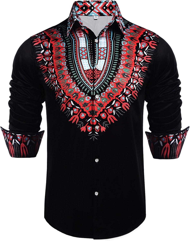 Daupanzees Bargain sale Mens African Dashiki Shirt Print Sleeve safety Long