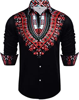 Daupanzees Mens African Dashiki Shirt Long Sleeve African Print Casual Button Down Shirt