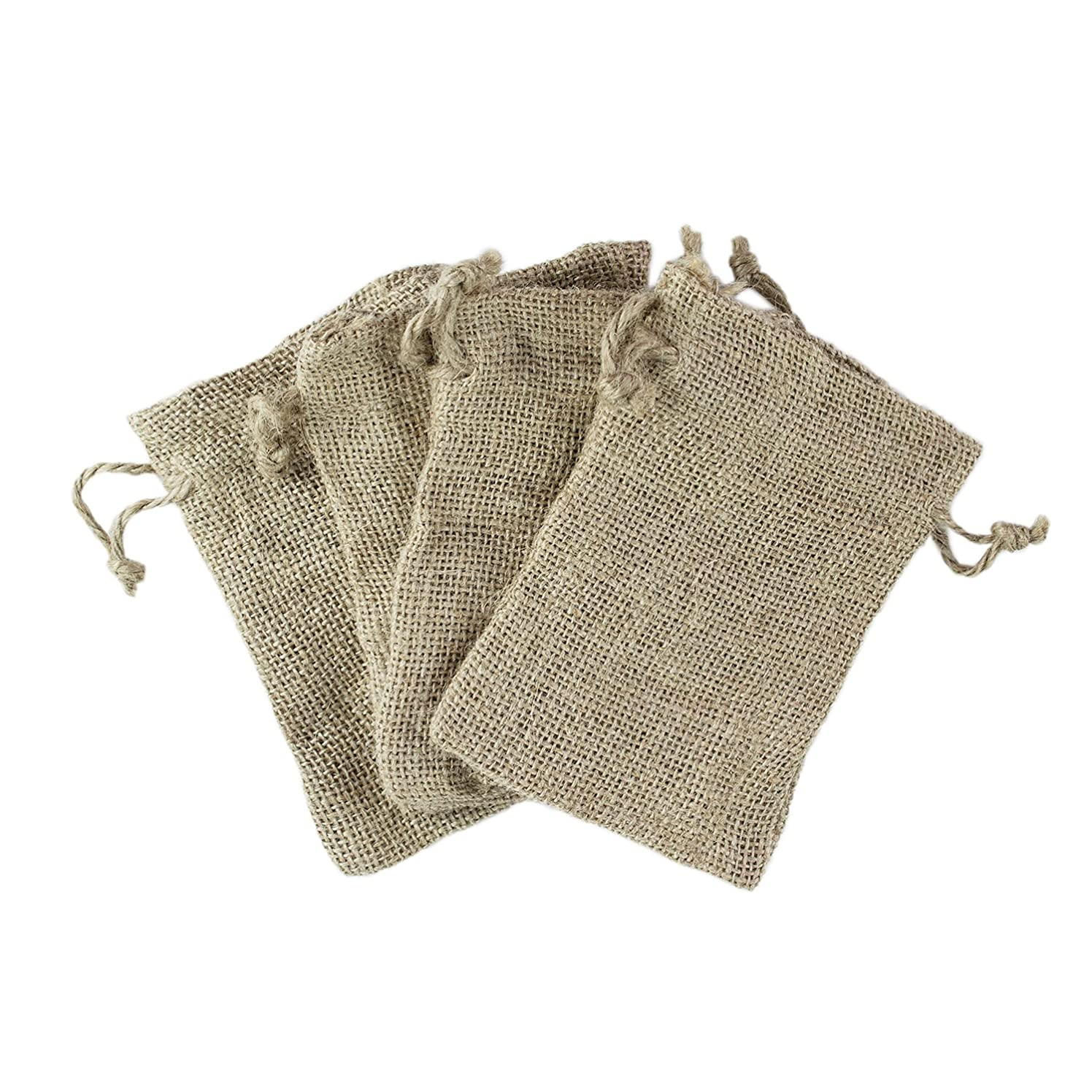 Super Z Outlet Natural Color Burlap Bag with Drawstring Closure for Arts & Crafts Projects, Gift Packaging, Presents, Snacks & Jewelry (50 Pack) (4